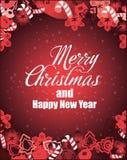 Wesoło bożych narodzeń i nowego roku wektoru karta Żniwa fest projekt doskonalić dla druków, ulotki, sztandary, zaproszenia, prom royalty ilustracja