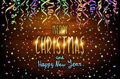 Wesoło bożych narodzeń i Szczęśliwego nowego roku drewniany tło z dekoracją na colorfull confetti wektor ilustracja wektor