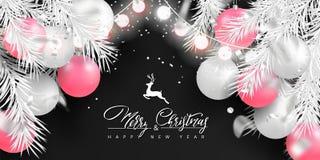 2019 Wesoło bożych narodzeń i Szczęśliwego nowego roku tło dla wakacyjnego kartka z pozdrowieniami, plakat, sztandar Piękne drzew ilustracji
