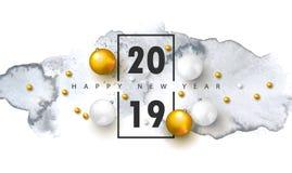2019 Wesoło bożych narodzeń i Szczęśliwego nowego roku tło z Bożenarodzeniowymi piłkami i akwareli teksturą Wektorowa ilustracja  ilustracja wektor
