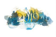 2019 Wesoło bożych narodzeń i Szczęśliwego nowego roku tło z teksturą sylwetek lasowych drzew akwareli i Wektorowa ilustracja dla ilustracji