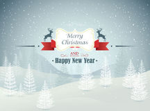 Wesoło bożych narodzeń i Szczęśliwego nowego roku zimy lasowy krajobraz z opadu śniegu wektorem Obrazy Stock