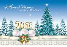2018 Wesoło bożych narodzeń 2018 i Szczęśliwego nowy rok Zdjęcia Royalty Free