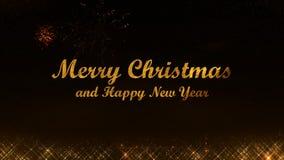 Wesoło bożych narodzeń i Szczęśliwy 2019 nowego roku połysku złote lekkie cząsteczki czernią tło obraz royalty free