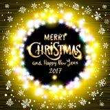 Wesoło bożych narodzeń i Szczęśliwy 2017 nowego roku realistyczne ultra żółte kolorowe lekkie girlandy jak round rama na przejrzy ilustracja wektor