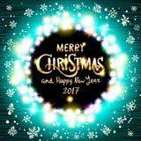 Wesoło bożych narodzeń i Szczęśliwy 2017 nowego roku realistyczne ultra błękitne kolorowe lekkie girlandy jak round rama na przej Zdjęcie Royalty Free