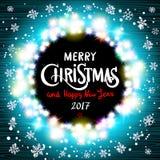 Wesoło bożych narodzeń i Szczęśliwy 2017 nowego roku realistyczne ultra błękitne kolorowe lekkie girlandy jak round rama na przej Zdjęcia Stock