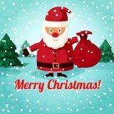 Wesoło bożych narodzeń kartka z pozdrowieniami - Święty Mikołaj ilustracji