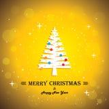 Wesoło bożych narodzeń kartka z pozdrowieniami plakat & xmas drzewo - royalty ilustracja