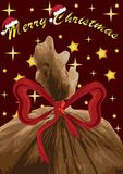Wesoło bożych narodzeń kartka z pozdrowieniami z Święty Mikołaj s torbą, wektor Obrazy Royalty Free