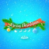 Wesoło bożych narodzeń kartka z pozdrowieniami z czerwonym faborkiem, xmas drzewem i śniegiem na błękitnym tle, Fotografia Royalty Free