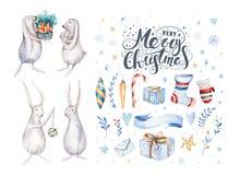 Wesoło bożych narodzeń króliki i płatki śniegu Ręka rysujący królika illustr Fotografia Royalty Free