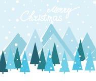 Wesoło bożych narodzeń krajobraz wektor Kartka bożonarodzeniowa z drzewami i górami royalty ilustracja