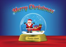 Wesoło bożych narodzeń kula ziemska Santa z Santa saniem ilustracji