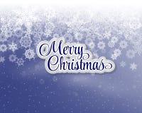 Wesoło bożych narodzeń listy zakrywający z śniegiem na śnieżnej tło rocznika pocztówce Zdjęcie Stock