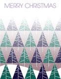 Wesoło bożych narodzeń miecielica z jedlinowymi drzewami royalty ilustracja