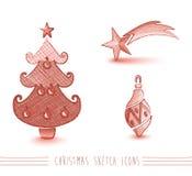Wesoło bożych narodzeń nakreślenia czerwonego stylu drzewni elementy ustawiają EPS10 kartotekę. Fotografia Royalty Free