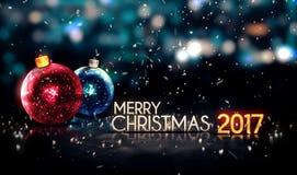 Wesoło bożych narodzeń nocy Bokeh 2017 Piękny 3D tło Obraz Stock