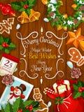 Wesoło bożych narodzeń nowego roku najlepszych życzeń wektoru plakat ilustracji