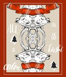 Wesoło bożych narodzeń nowego roku szczęśliwej fantazi złocisty jeleni kształt w modnisia origami stylu Ideał dla xmas karcianego royalty ilustracja