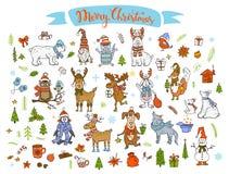 Wesoło bożych narodzeń nowego roku zimy szczęśliwej kreskówki śliczni śmieszni zwierzęta royalty ilustracja