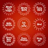Wesoło bożych narodzeń nowy rok życzy etykietek odznak i majcherów Ręka rysująca struktury rama Kaligrafia zwrot handwritten ilustracja wektor