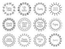 Wesoło bożych narodzeń nowy rok życzy etykietek odznak i majcherów Ręka rysująca struktury rama Kaligrafia zwrot handwritten ilustracji