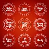 Wesoło bożych narodzeń nowy rok życzy etykietek odznak i majcherów Ręka rysująca struktury rama Kaligrafia zwrot handwritten royalty ilustracja