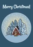 Wesoło bożych narodzeń płaskiej zimy kuli ziemskiej sceny śnieżna pocztówka royalty ilustracja