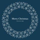 Wesoło bożych narodzeń płatków śniegu płaska błękitna pocztówka Zdjęcie Royalty Free