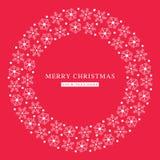 Wesoło bożych narodzeń płatków śniegu płaska czerwona pocztówka Fotografia Royalty Free
