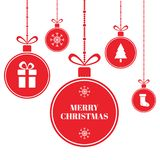 Wesoło bożych narodzeń piłki na błękitnym tle z śniegiem i płatkami śniegu karciany wakacyjny nowy rok Jaskrawe czerwieni Xmas pi ilustracji