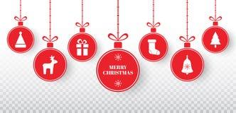 Wesoło bożych narodzeń piłki ustawiać na przejrzystym tle Jaskrawe czerwone obwieszenia xmas piłki z Santa kapeluszem, renifer, c ilustracji