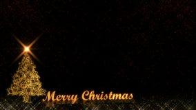 Wesoło bożych narodzeń połysku cząsteczek złoci lekcy fajerwerki czernią tło zdjęcie stock