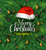 Wesoło bożych narodzeń powitań typografia z Santa Claus kapeluszem w zielonej sośnie opuszcza tło ilustracji