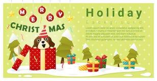 Wesoło bożych narodzeń powitania tło z psa prezenta inside pudełkiem Obraz Royalty Free