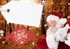 Wesoło bożych narodzeń powitania z Santa Claus mieniem grabiją Obrazy Stock