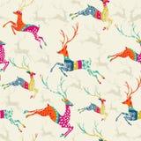 Wesoło bożych narodzeń reniferowa bezszwowa deseniowa wektorowa kartoteka. Obraz Royalty Free