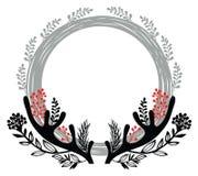 Wesoło bożych narodzeń round rama Obrazy Royalty Free