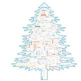 Wesoło bożych narodzeń słowa chmura w drzewnym kształcie zdjęcie royalty free