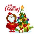 Wesoło bożych narodzeń Santa prezentów drzewna wektorowa ikona royalty ilustracja