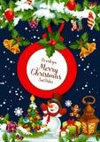 Wesoło bożych narodzeń Santa prezentów wektoru kartka z pozdrowieniami ilustracji