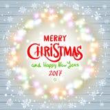 Wesoło bożych narodzeń szczęśliwego nowego roku karciany projekt z świątecznym xmas zaświeca Zdjęcia Royalty Free