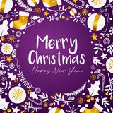 Wesoło bożych narodzeń Szczęśliwego nowego roku Złoty Purpurowy tło ilustracja wektor