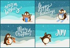 Wesoło bożych narodzeń Szczęśliwi wakacje Wita pingwiny ilustracji