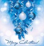 Wesoło Bożych Narodzeń sztandar z błękit srebra piłkami Zdjęcie Royalty Free