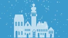 Wesoło bożych narodzeń sztandar z białą starą grodzką sylwetką na błękitnym tle, rozmyty opad śniegu, animujący nagłówek, ilustracji