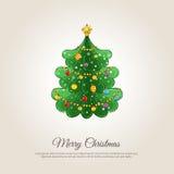 Wesoło bożych narodzeń sztandar z Dekorującym Xmas drzewem ilustracja wektor