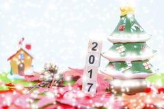 Wesoło bożych narodzeń tło i liczy 2017 t Obrazy Stock