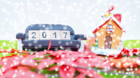 Wesoło bożych narodzeń tło i liczy 2017 t Obraz Stock